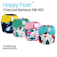 HappyFlute Newborn Charcoal Bamboo AIO For NB Baby Double Gussets Waterproof And Breathable Fit 0 3months