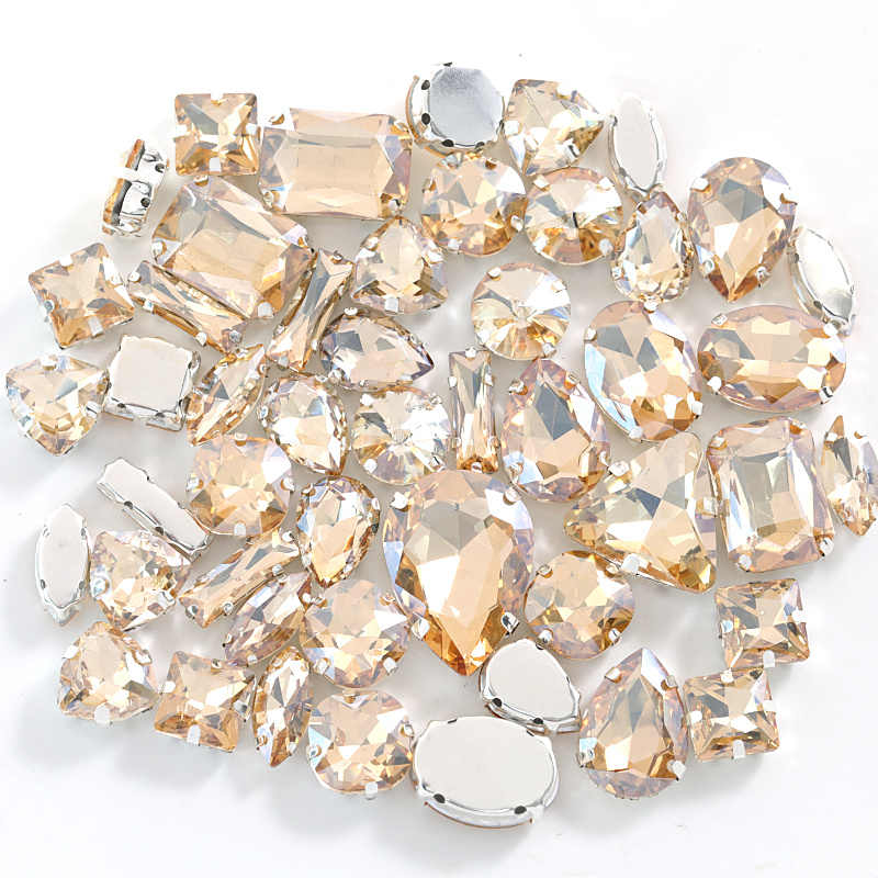 Gold Champagne Mixed Shapes Crystal Glass Sew On Rhinestones With Claw Flatback Sewing Rhinestones For Garment B1236