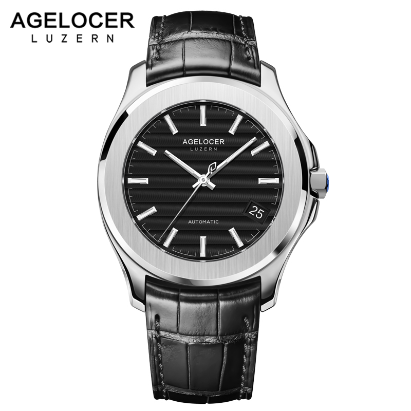 Men Watches Swiss Luxury Brand AGELOCER Genuine Leather Clock Male Waterproof Power Reserve Watch Men Wrist Mechanical Watch блузка женская sela цвет черный ts 111 1057 8121 размер l 48