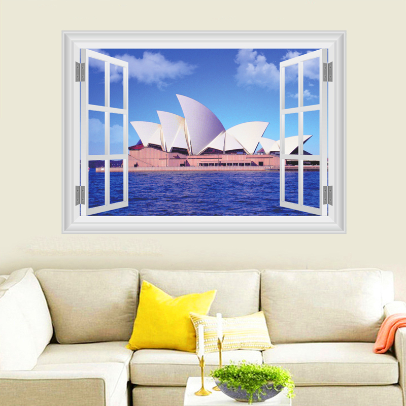 Sydney Opera House Wall Stickers Home Decor Living Room 3D ... on Room Decor Stickers id=68127