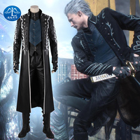 ManluyunxiaoDMC 5 Game Vergil Cosplay Vest Men Jackets Halloween Costume for Kids Adult Anime Faux Leather Coat