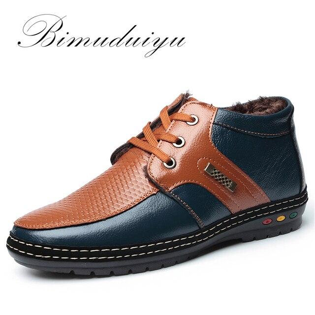 BIMUDUIYU Nuevo Estilo Venta Microfibra Botas de Cuero de Los Hombres Ocasionales Individuales y Zapatos Con Cordones de Arranque en Caliente de terciopelo costura Tendencia