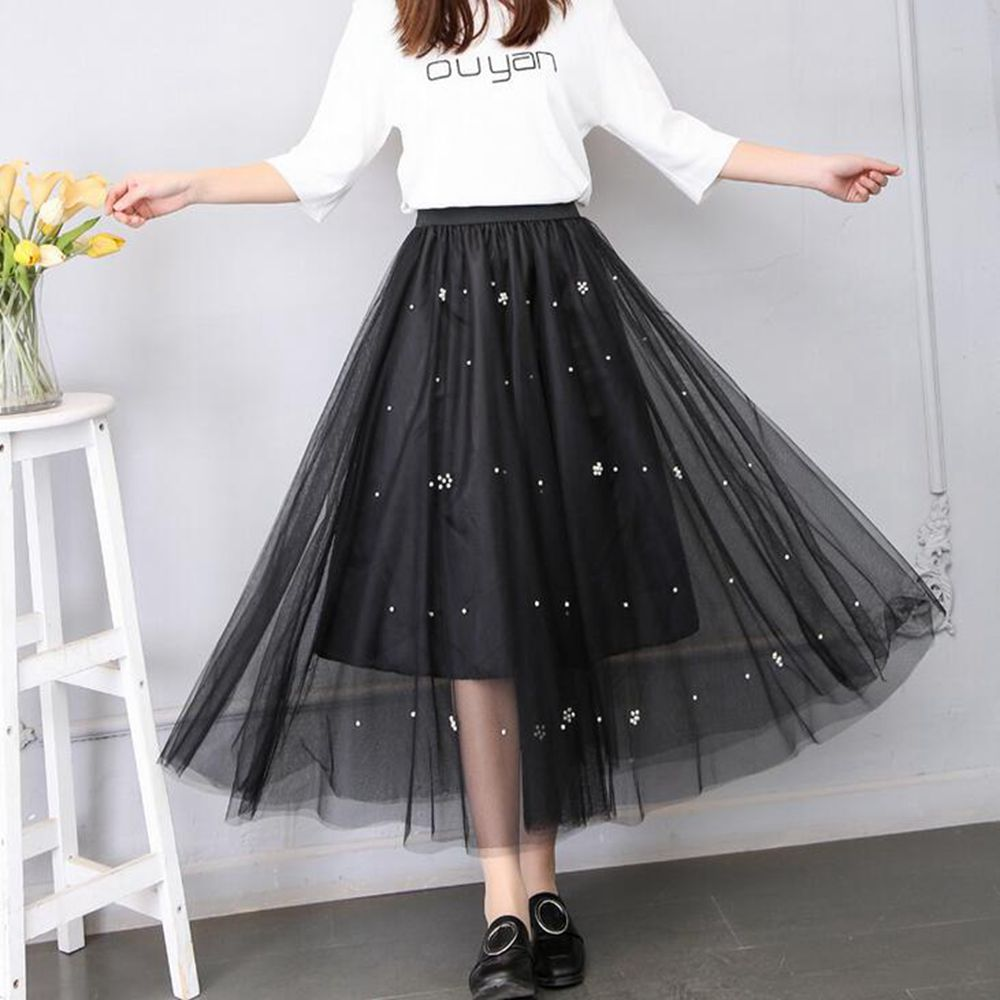2018 Women Skirts Bud Silk Skirts Long Pleated Skirt Of Tall Waist Beaded Mesh Gown Pleated Long Skirts Show A-line Skirt