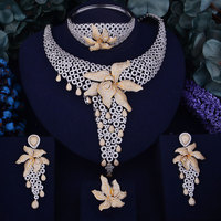 GODKI Luxury Starfish Women Nigerian Wedding Naija Bride Cubic Zirconia Necklace Dubai 4PCS Jewelry Set Jewellery