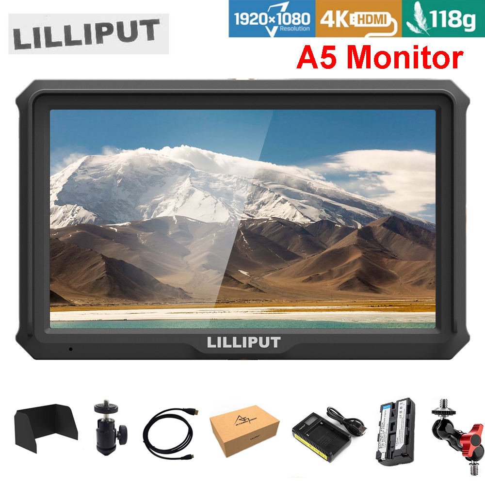 Lilliput A5 5 Inch only 118g FHD 1920x1080 4K HDMI On Camera Field Monitor w/ Battery Broadcast Monitor for Camera Zhiyun GimbalLilliput A5 5 Inch only 118g FHD 1920x1080 4K HDMI On Camera Field Monitor w/ Battery Broadcast Monitor for Camera Zhiyun Gimbal