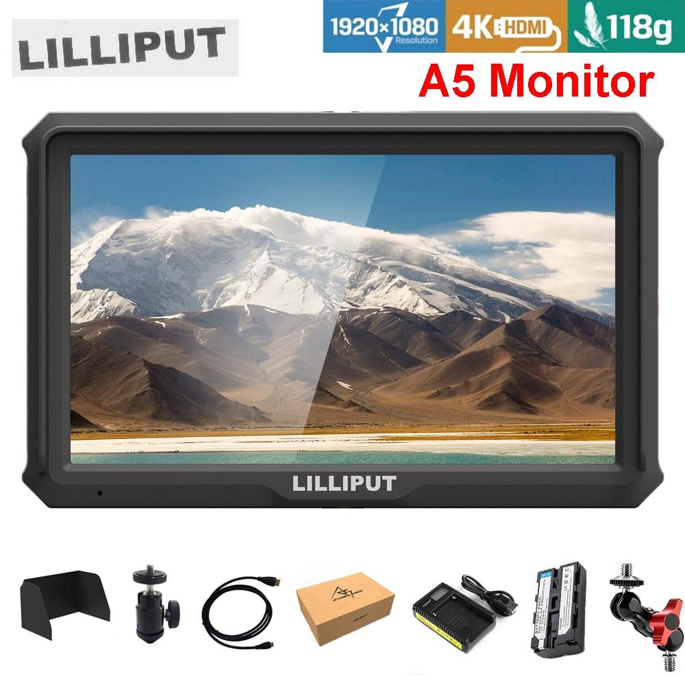 Lilliput A5 5 pouce seulement 118g FHD 1920x1080 4 k HDMI Sur Le Champ de La Caméra Moniteur w/ batterie Moniteur de Diffusion pour Caméra Zhiyun Cardan