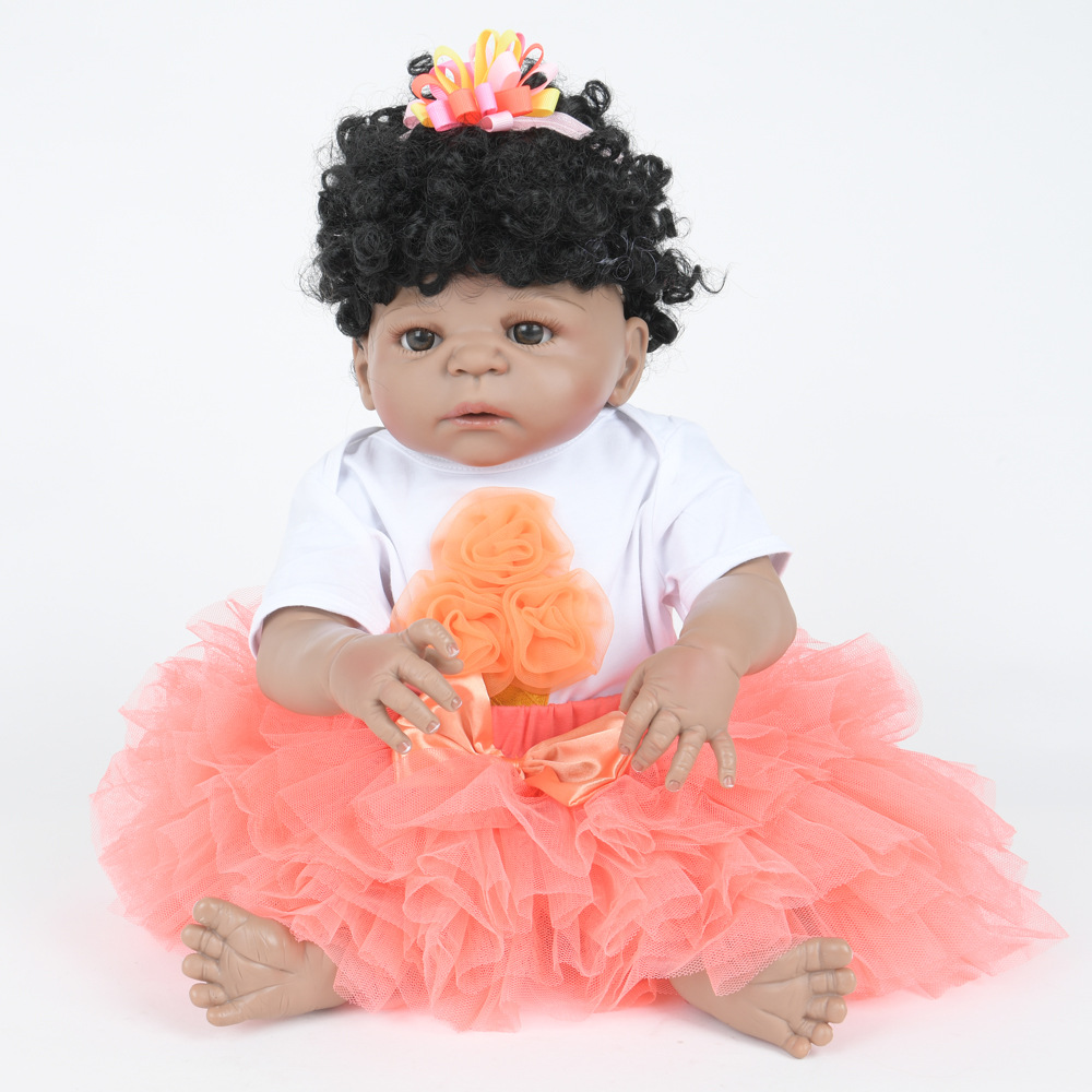 22 Inch Soft Full Silicone Vinyl Reborn Baby Doll Lovely Curly Hair Girl Dolls for Children Kids Toy Birthday Xmas New Year Gift 22 inch soft full silicone vinyl reborn baby doll lovely sleeping girl dolls for children kids toy birthday xmas new year gift