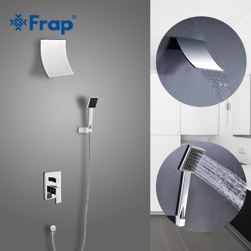FRAP Wall bathroom shower faucet brass set in wall rainfall shower mixer tap chrome bathtub faucet