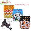 Ohbabyka All-In-One AIO Fralda de Pano para o Bebê Noite Ajustável Carvão De Bambu Fralda de Pano de Bolso com Tampa Reforços duplas