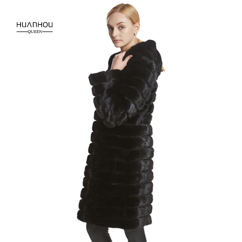 HUAN HOU QUEEN 2017new mink fur coat long style with hood slim and warm real mink