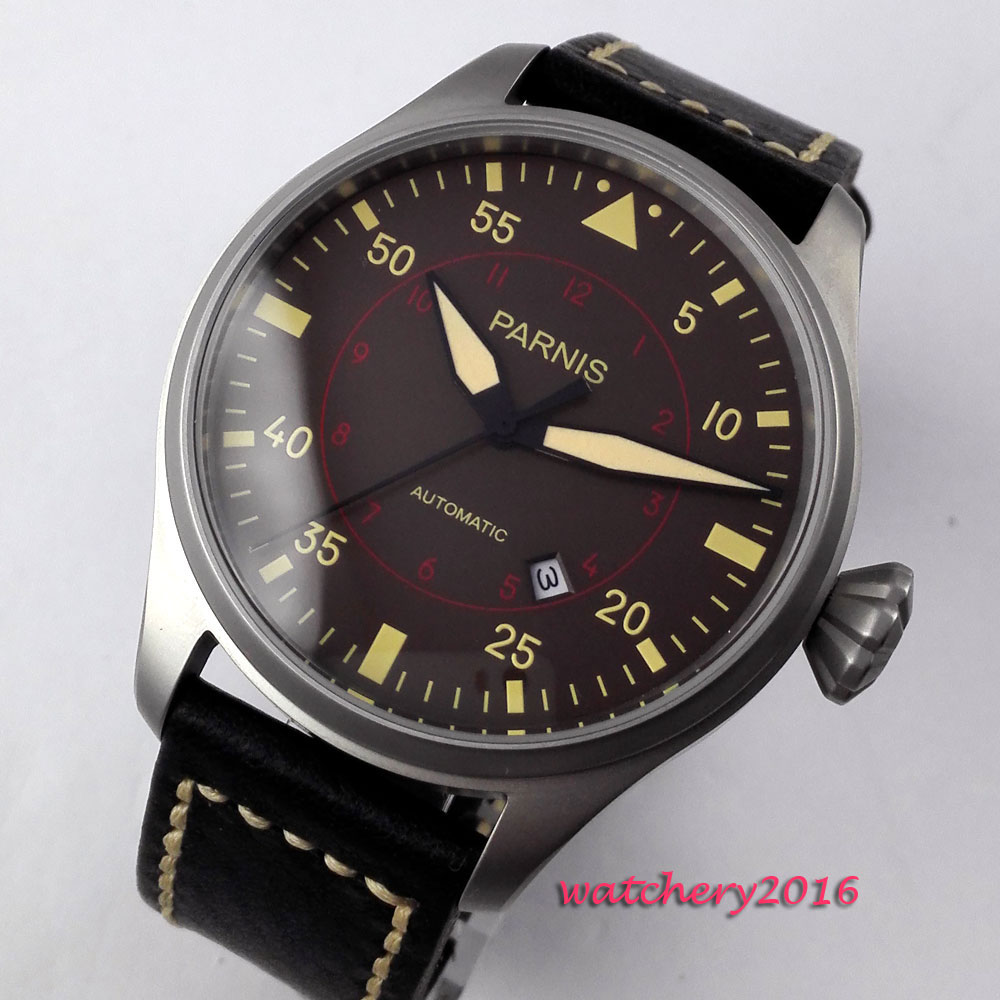 47mm parnis coffee dial date gray case Leather strap miyota automatic movement men's watch luxurious 47mm parnis coffee dial date seagull automatic movement mens watch page 6