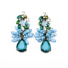Fashion Accessories Flower Stud Earring Blue Drip Crystal Statement Dangle Fancy Luxury Style Earrings For Women