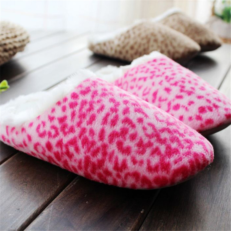 Classic Leopard print Red Indoor Slipper Thick Plush Warm Soft No-Slip Wool Home Textile Living Lovers Babouche For Bedroom zhh warm soft fleece strip blankets double layer thick plush throw on sofa bed plane plaids solid bedspreads home textile 1pc