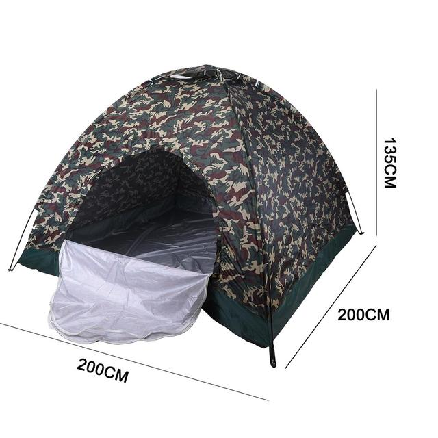 Hot Sale Big Outdoor Portable Single Layer Camping Tent Wigwam Camouflage 4 Person Waterproof Lightweight Beach Fishing Hunting