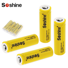 4pcs Soshine 3.7V 900mAh ICR 14500 Li-ion Rechargeable Battery with Safety Relief Valve + Battery Storage Box Case Holder