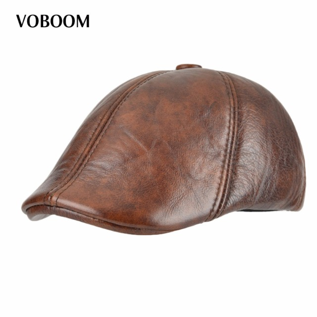 f5430a5c58f VOBOOM Genuine Leather Duckbill Flat Cap Six Panel Cabbie Gatsby Ivy Hat  Winter Ear Protection Boina 015