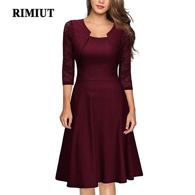 489e11dddd6b € 24.1 |Vestidos de Fiesta elegantes para mujer talla grande sólido Sexy  Vestidos de línea a holgados con mangas de encaje para mujer Fat MM 2XL de  ...