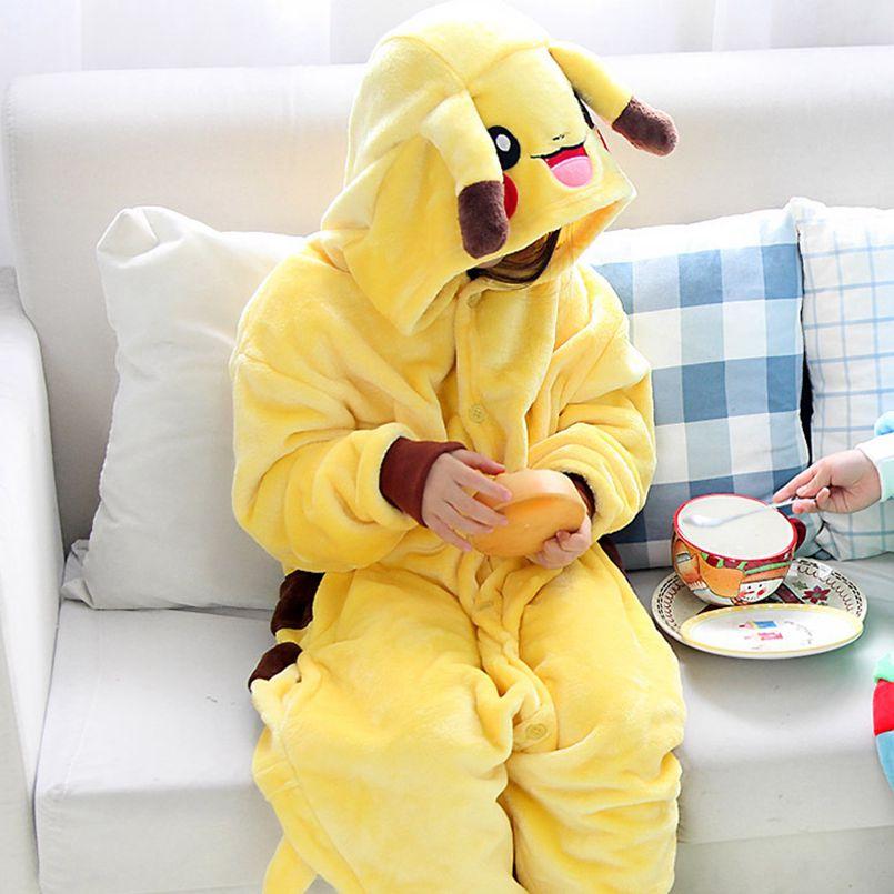 Kid's Kugurumi Onesie Cartoon Pokemon Smile Pikachu Cosplay Costume Flannel Pajama One Piece Boy Girl Child Pyjama Sleep Suit