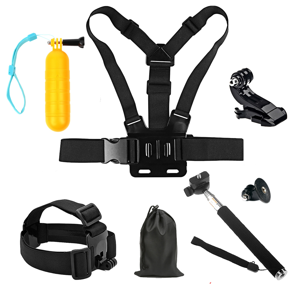 SHOOT Action Camera Accessories for GoPro Hero 6 5 4 Session Xiaomi Yi Lite 4K 4K+ SJCAM Eken H9 Go Pro Strap Mount with Monopod