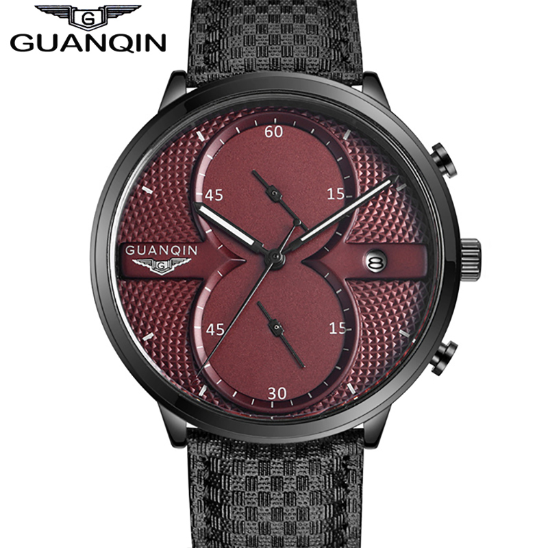 все цены на Watches Men Luxury Top Brand 2016 GUANQIN Quartz-watch Red Dial Waterproof Sport Quartz Watch Men WristWatch With Stopwatch онлайн