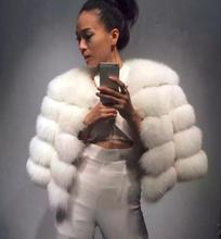 2017 Hot-Selling Winter coat Short Striped Ntural Fur Coat Luxury Genuine White Fox Fur Coats Women Fashion Fur Overcoat