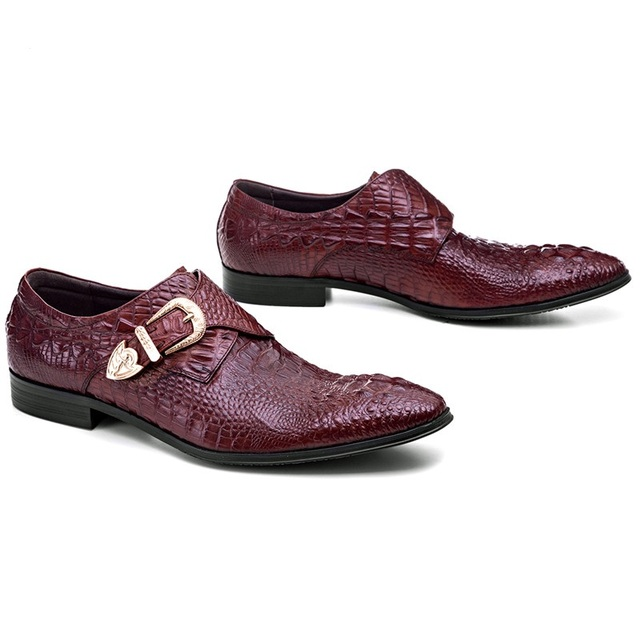 Crocodile Grain Wine red / Black dress shoes mens business shoes genuine leather formal wedding shoes with buckle Formal Shoes
