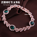 Top Quality ZYH044 Created Emerald Green Crystal  Rose Real Gold Plated Bracelet Genuine Austrian Crystals Wholesale ZYH045