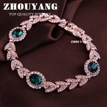De Calidad superior ZYH044 Creado Esmeralda Verde Crystal Rose Oro Verdadero Plateó la Pulsera ZYH045 Genuino Cristales Austriacos Wholesale