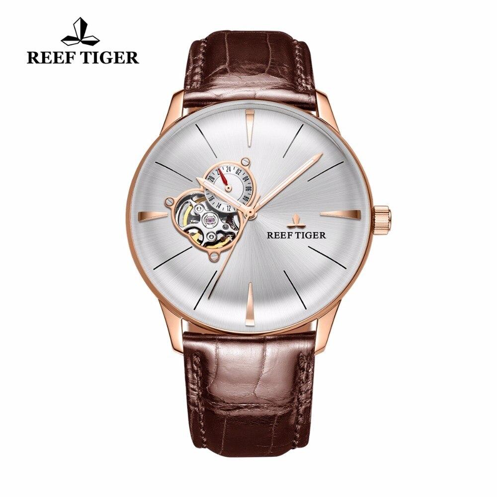 2017 Риф Тигр/RT Роскошные Повседневное часы для Для мужчин розовое золото Tourbillon выпуклая линза часы ремень из натуральной кожи RGA8239