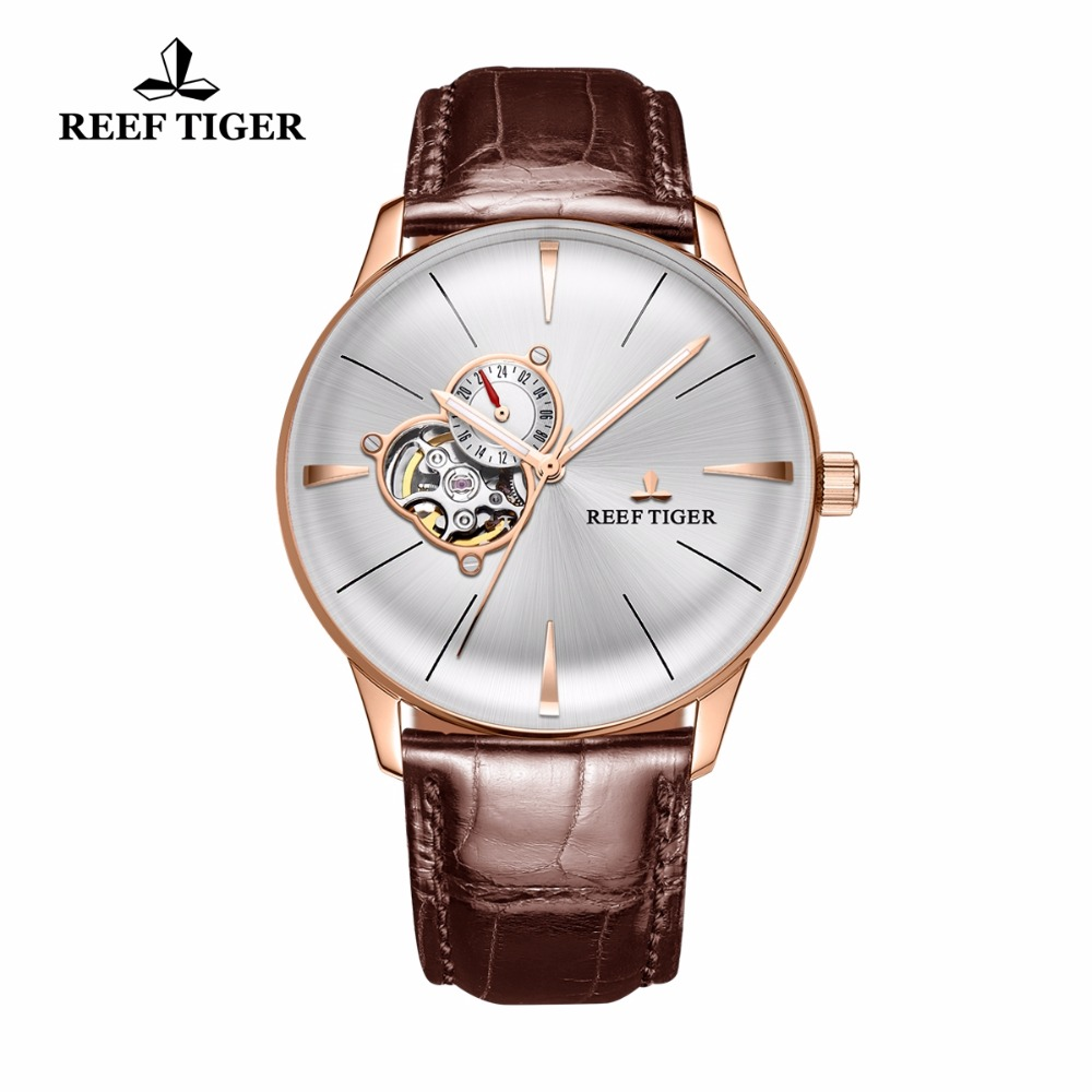2017 Récif Tigre/RT De Luxe Casual Montres pour Hommes Or Rose Tourbillon Lentille Convexe Montres Véritable Bracelet En Cuir RGA8239