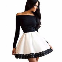 2017 Summer New Long Sleeved Lace Patchwork Fashion Women Dress Sexy Off Shoulder Strapless Slash Neck