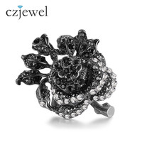 Gothic Vintage Rings for Women Punk Flower Black Gold Color Fuchsia Black Crystal Anillos Moda Anel