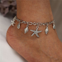 Unique Silver Color Multiple Pendant Starfish Conch Chain Anklets Shell Female Foot Jewelry 2019 New