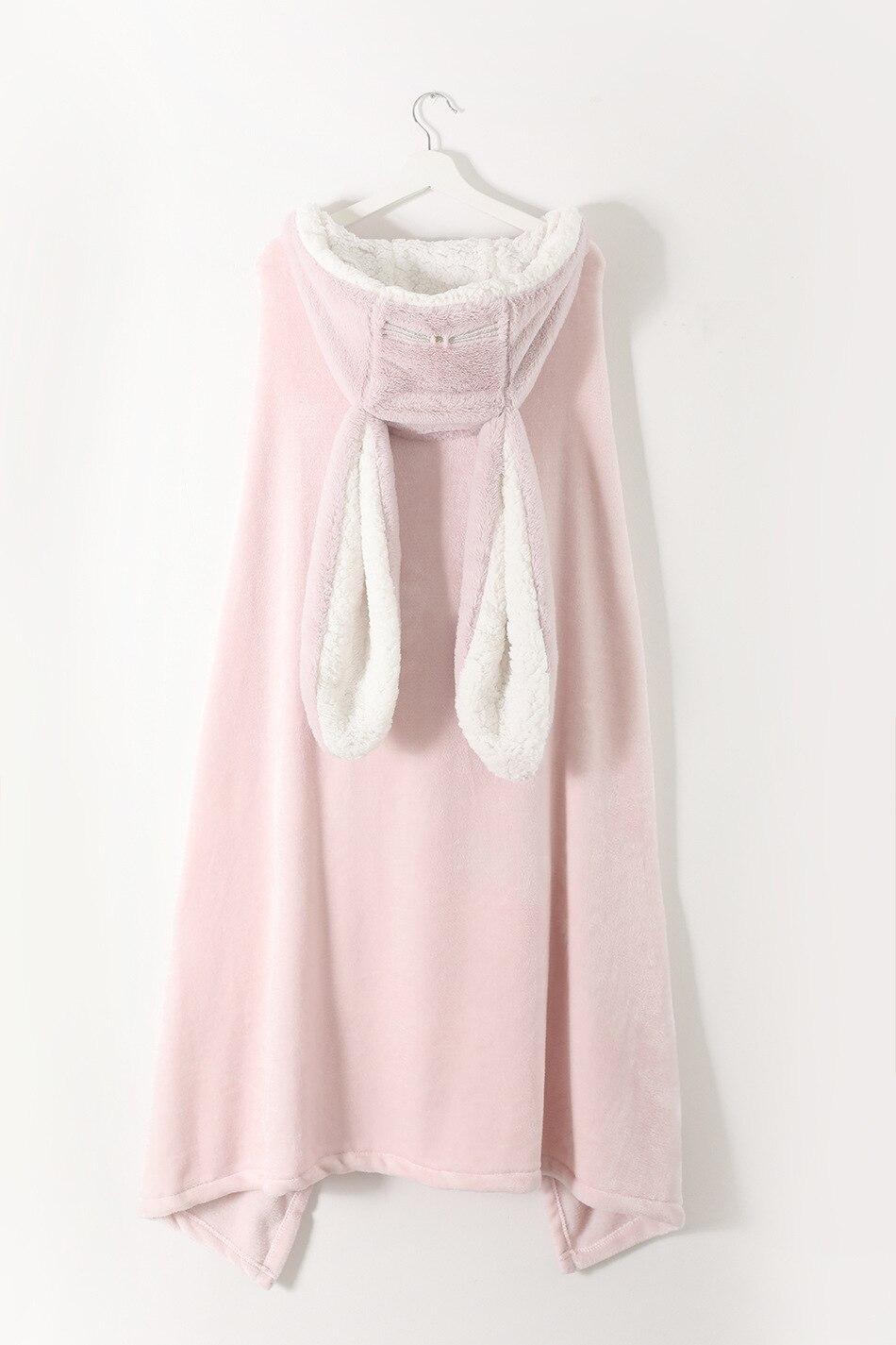 Cute Pink Comfy Blanket Sweatshirt Winter Warm Adults and Children Rabbit Ear Hooded Fleece Blanket Sleepwear Huge Bed Blankets 155