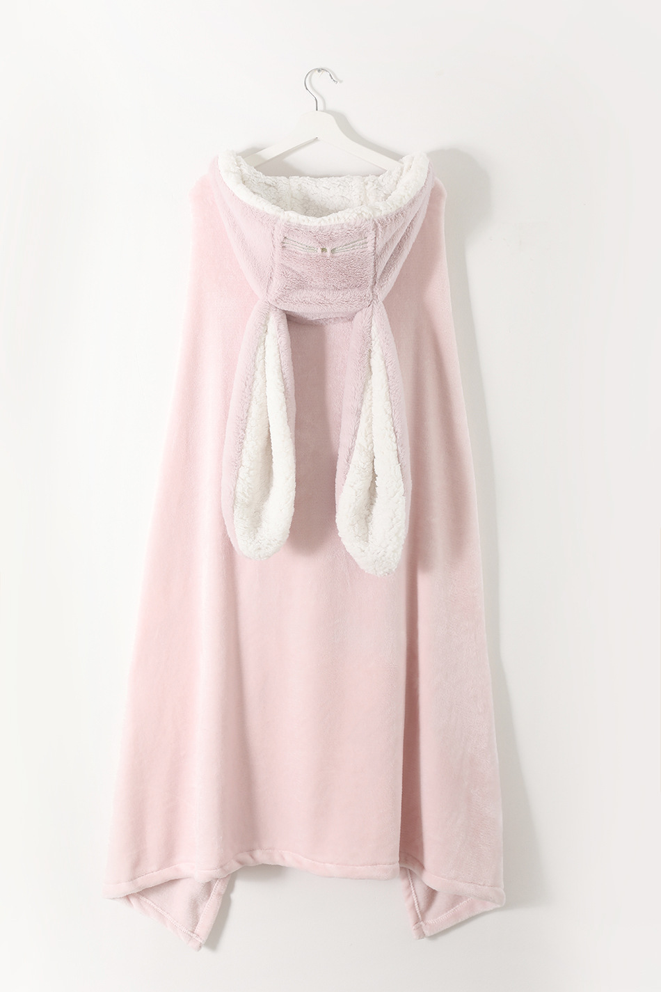 Cute Pink Comfy Blanket Sweatshirt Winter Warm Adults and Children Rabbit Ear Hooded Fleece Blanket Sleepwear Huge Bed Blankets 156