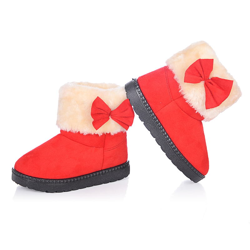 Children's Shoes Boots Adroit 2018 Girls Bowknot Snow Boots With Fur Baby Warm Soft Outsole Ankle Boots Medium-leg Child Cotton-padded Shoes Aa51209 Good Companions For Children As Well As Adults