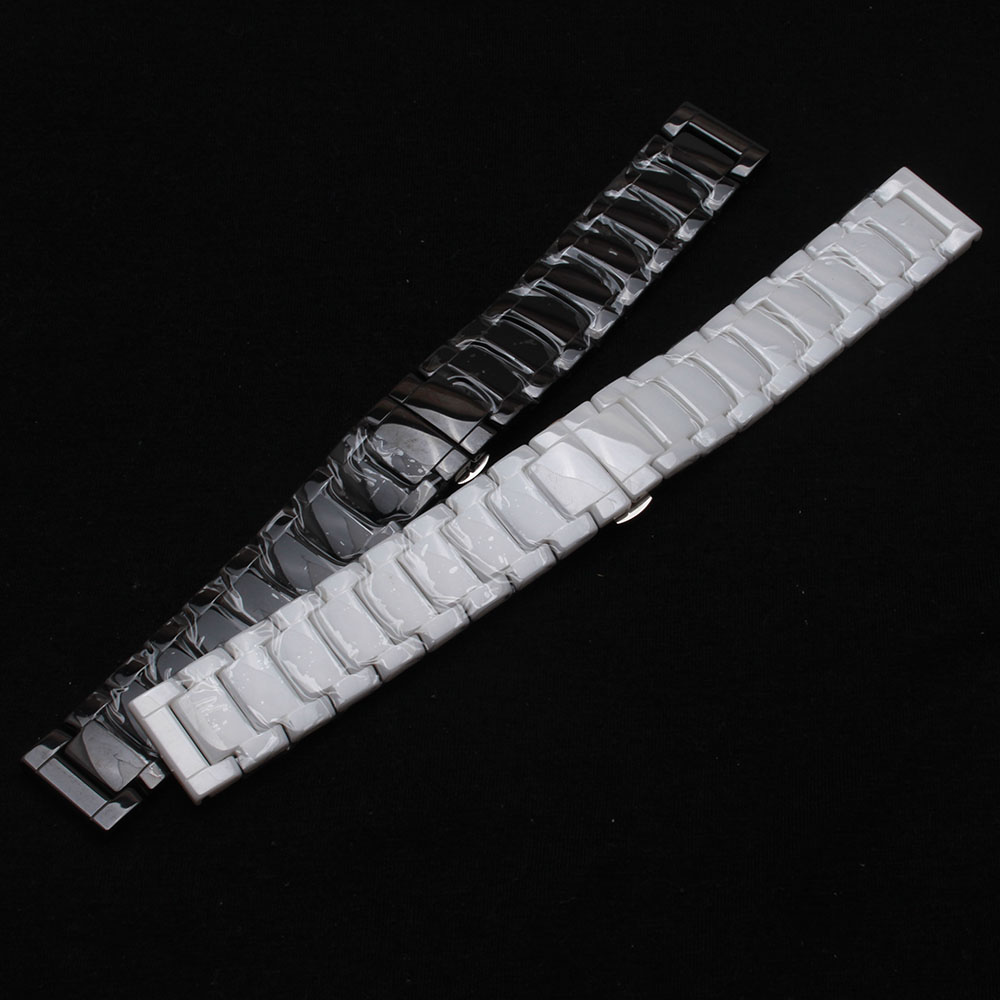 Watchband men's wristWatches straps bracelets 22mm Black White Ceramic Watchbands straps bracelets fit smart fast delivery 2017