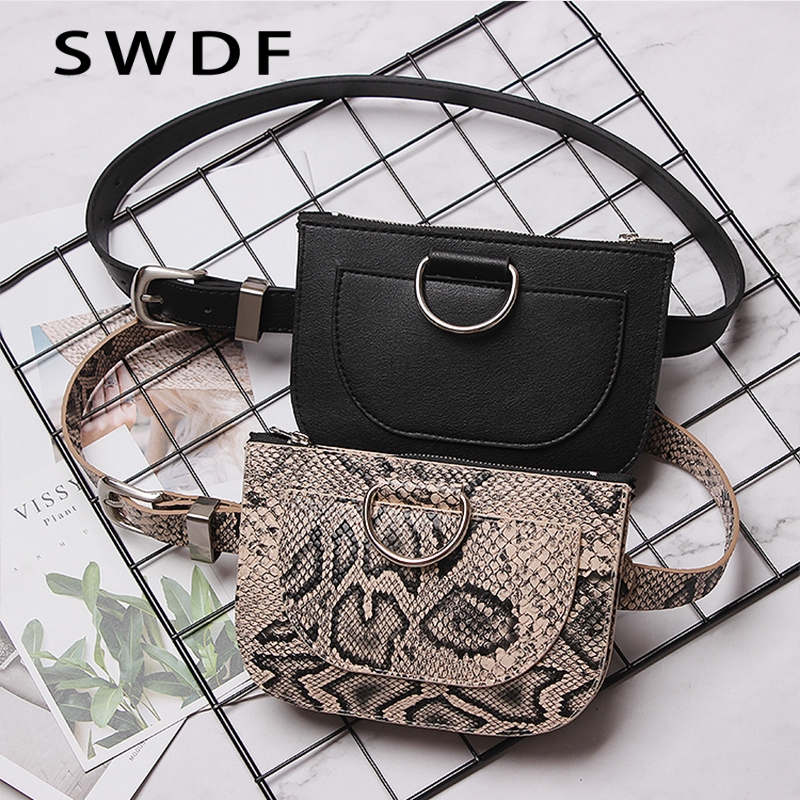 SWDF Women Waist Pack Waist Packs Pouch For Girl Serpentine Fanny Pack Pu Leather Chest Bag Female Fashion Belt Bag Female Purse
