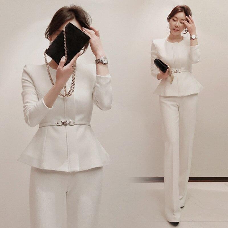 2 pièces ensembles femmes tenues costume femme automne nouveau style à manches longues col rond mode slim OL veste + pantalon deux pièces