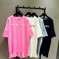 Women Tshirt 2018 Summer Korean Style Loose Embroidery Bat T shirts Girls Student Lotus Leaf Edge Short Sleeve Long T Tees Tops