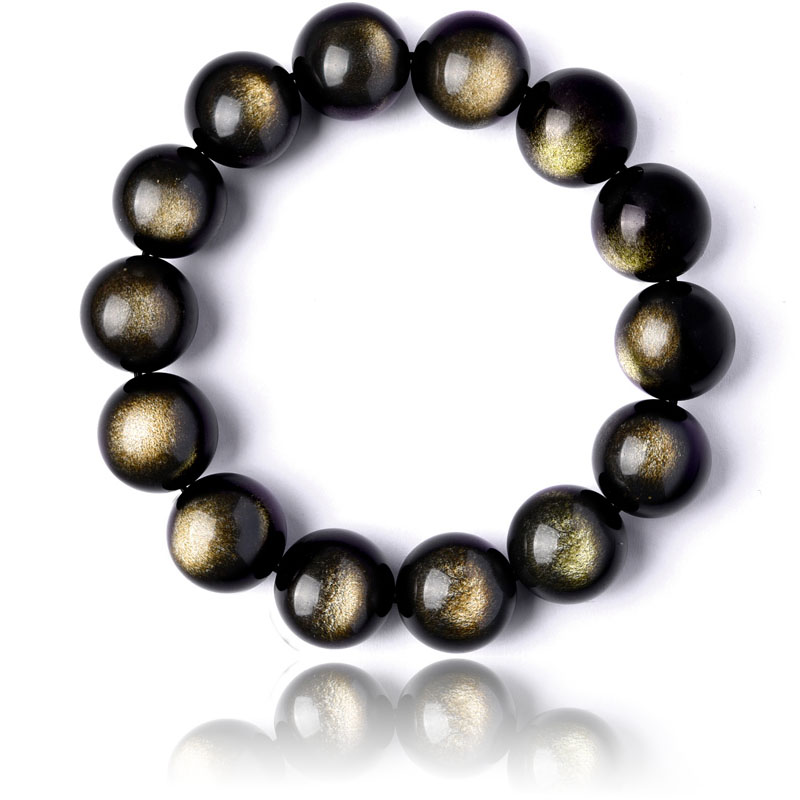 Stretch-Bracelets Bangle Beaded Natural-Stone Gold Obsidian Black Lucky-Jewelry Woman
