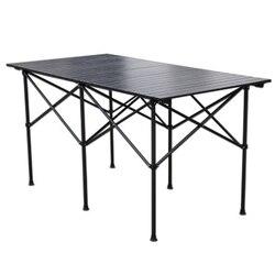 2018 Silla de mesa plegable para exteriores, mesa de Picnic de aleación de aluminio para acampar, mesa plegable resistente al agua para 140*70*70cm