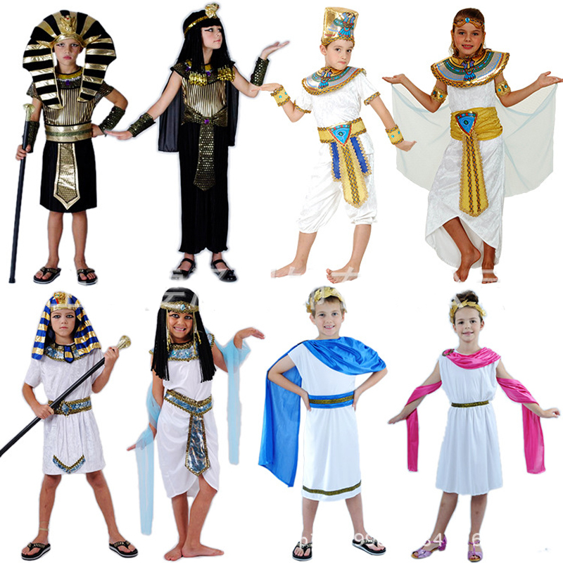 8 Model Egyptian Prince Clothes Princess Greek Costume Girl Dresses Party Cosplay Kids Clothing Children Stage Performance Suits