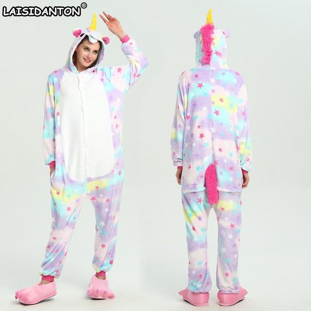 261434393 LAISIDANTON Adult Halloween Star Unicorn Pajamas Sets Anime Cartoon ...