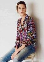 100% de seda colorido flores daisy print floral mulheres moda manga longa meninas senhora de seda camisas blusas primavera roupas de outono