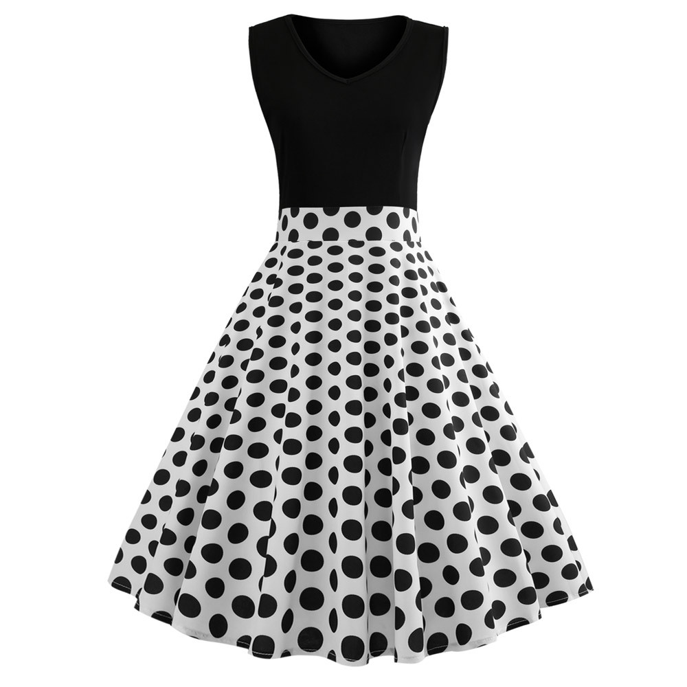 2018 New SUMMER Women Vintage Sleeveless O Neck Dot Printed Bow Evening Party Prom Swing EMPIRE