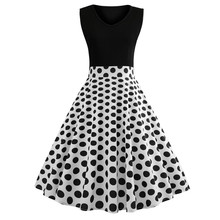 Vintage Sleeveless O Neck Dot Printed Bow Swing Dress