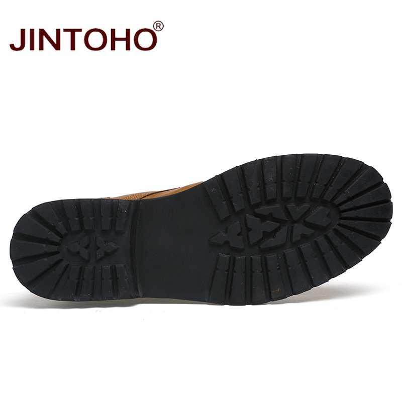 JINTOHO/кожаная мужская зимняя обувь; модные мужские зимние ботинки с острым носком; ботинки до середины икры для мужчин; мужские кожаные ботинки