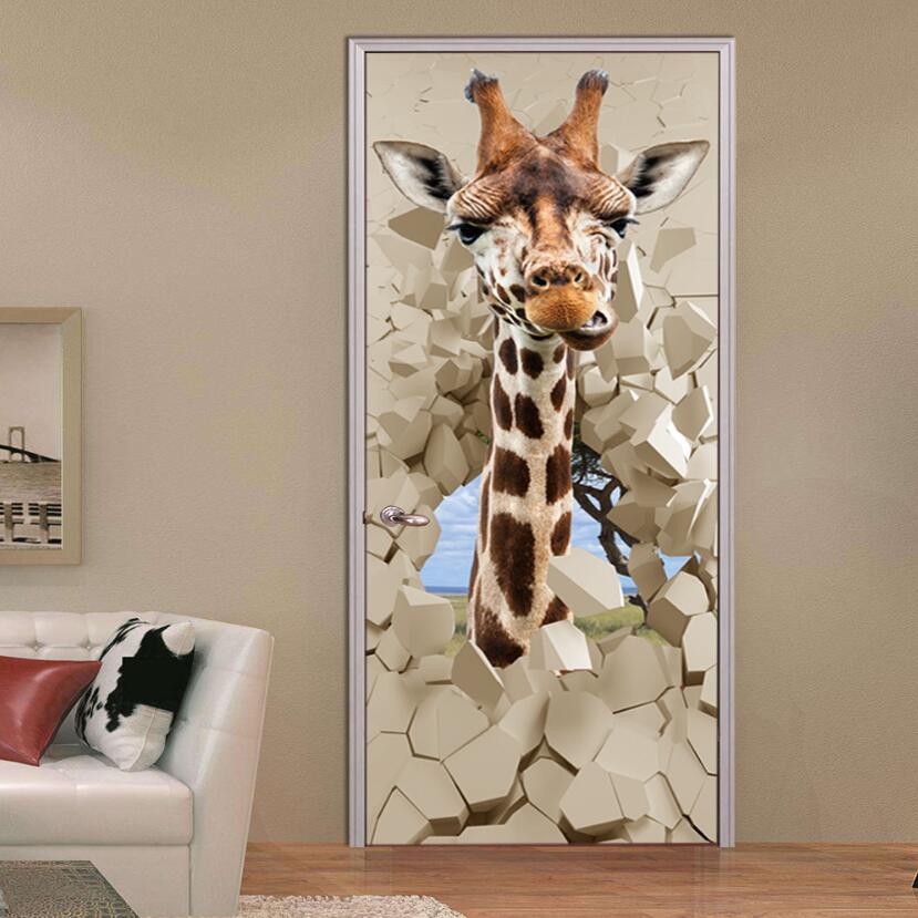 Bedroom Door Handle Broken Youth Bedroom Sets For Boys Bedroom Wall Decals B Q Bedroom Furniture: Creative 3d Giraffe Door Sticker Kids Room Deur Stickers