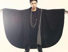 2017   men's clothing male avant-garde fashion batwing sleeve cape cloak with a hood sweatshirt The singer's clothing [S-XXL]
